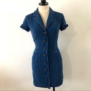 Vintage 80's Moschino Jeans denim collared dress
